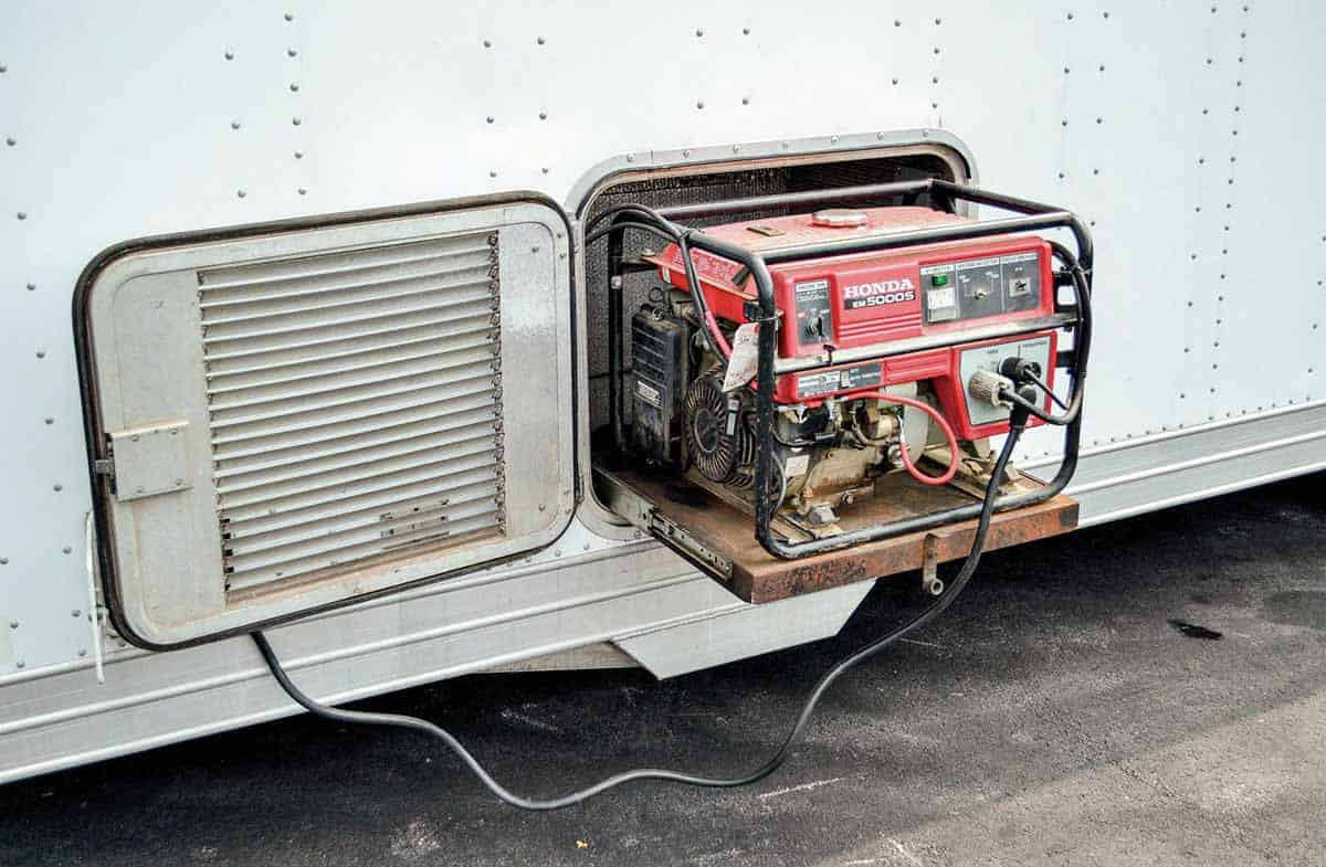 Portable generator for horse trailer